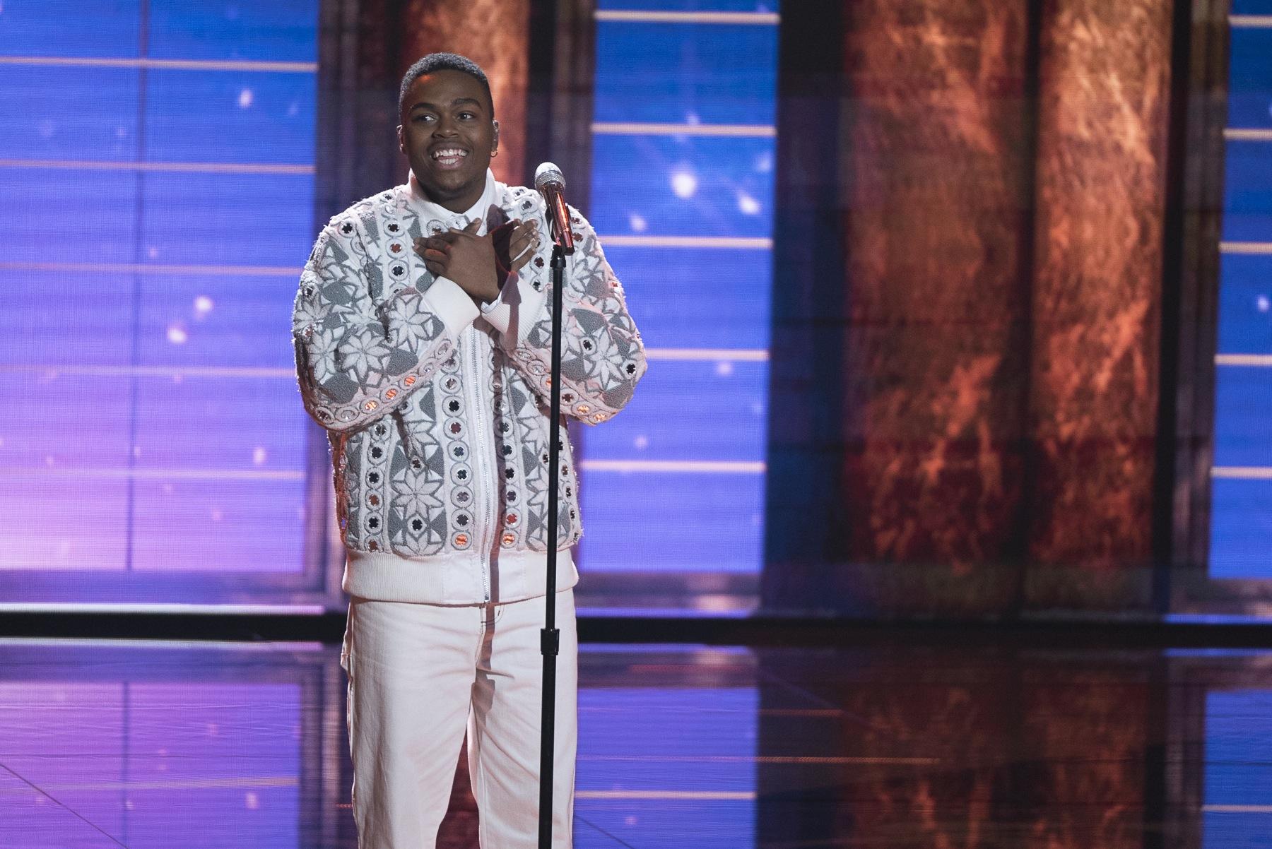 "Michael Woodard, of the East Falls neighborhood of Philadelphia, performs on the ABC television show, ""American Idol."""