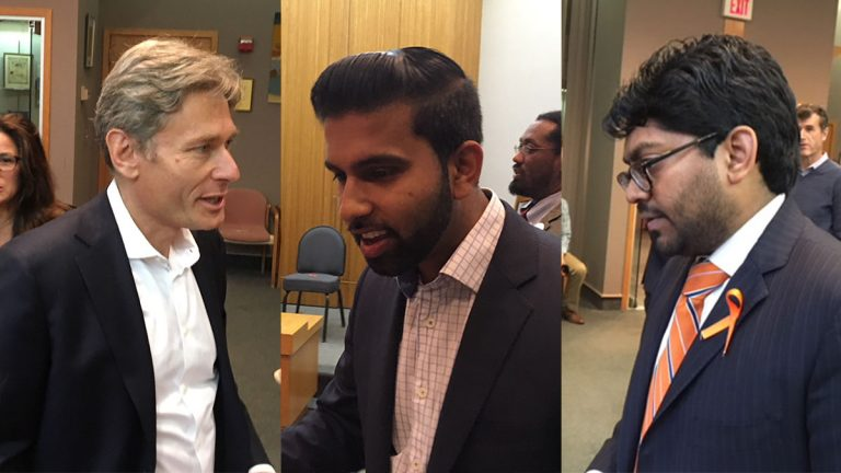 New Jersey 7th Congressional District candidates Tom Malinowski, Peter Jacob, and Goutam Jois (WHYY/Dave Davies).