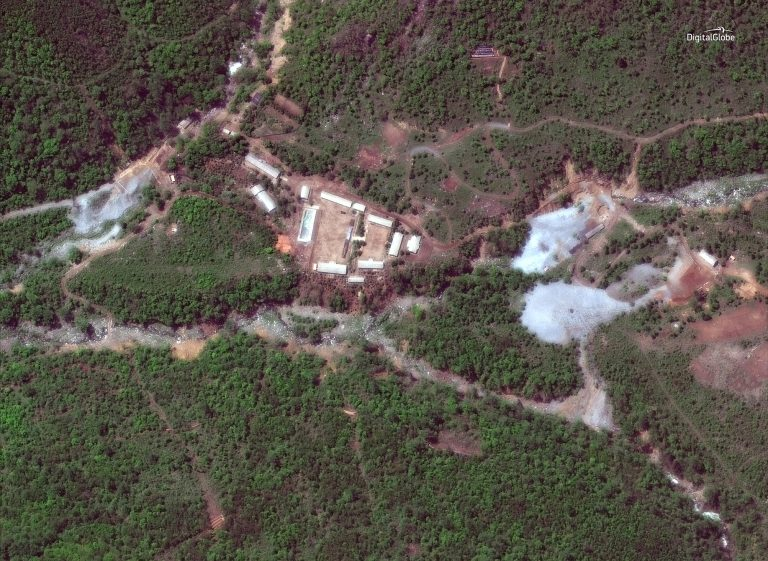 A satellite photo of the Punggye-ri nuclear test site in North Korea on May 23, 2018. (Digitalglobe)