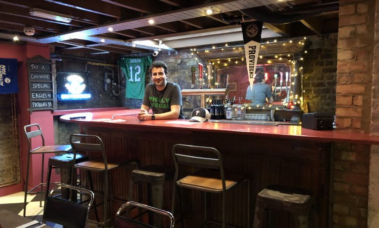 Owner JP Teti Stands Behind The Basement Bar At Passyunk Avenue, A  Philly Themed