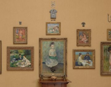 The west wall of Room 13 at the Barnes Foundation is covered with Renoir paintings.
