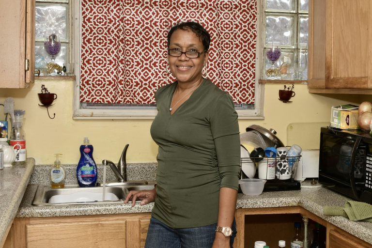Salima Ellis in the kitchen of her Mt Airy home.