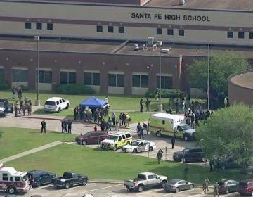 Aerial of Santa Fe High School in Texas.