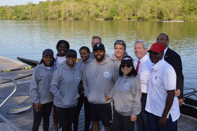 A crew from Philadelphia's  City Council including Cindy Bass, Bobby Henon, Helen Gym, Curtis Jones, and a few staffers will row in the 500-meter race during the the corporate challenge portion of the Dad Vail Regatta on Saturday. (Tom MacDonald/WHYY)