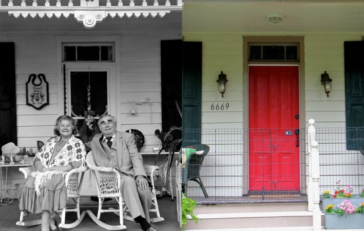Bob and Lillian Russell, two Lithuanian souls (left, © Bruce Katsiff) and the same house today (Emma Lee/WHYY)