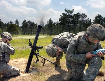 A mortar crew with Mortar Platoon, Headquarters and Headquarters Company, 2nd Battalion, 504th Parachute Infantry Regiment, 1st Brigade Combat Team, 82d Airborne Division, operates a 81 mm mortar for the brigade's Walk and Shoot, a live-fire exercise to train platoon leaders and forward observers of the brigade's maneuver battalions on an artillery range at Fort Bragg, N.C., June 9 – 11, 2009. (U.S. Army photo by Spc. Michael J. MacLeod)