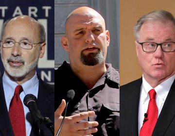 (From left) Pa. Gov. Tom Wolf; Democratic nominee for lieutenant governor John Fetterman; and GOP nominee for Pa. governor, Scott Wagner (WHYY file photos)