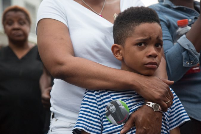 Swyhir Crew is the 7 year old cousin of a boy who was shot in the random act of gun violence that took the life of Sandrea Williams in their West Philadelphia neighborhood in May 2018. His home is just a few house down from where the shooting took place. (Emily Cohen for WHYY)