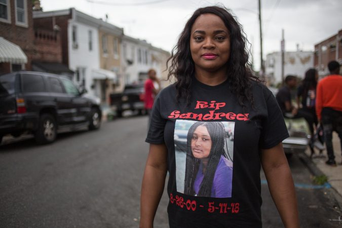 Naisha Rhoden, Sandrea's aunt, attends the rally to bring justice for the death of her 17 year old niece three weeks after she was gunned down in a random act of violence outside of her mother's West Philadelphia home on May 11th 2018. (Emily Cohen for WHYY)
