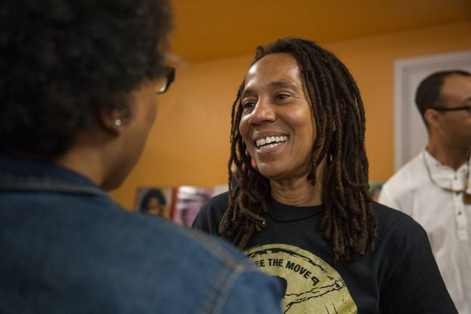 MOVE member Debbie Africa makes her first public appearance since being released from prison after 39 years and 10 months of incarceration. (Emily Cohen for WHYY)