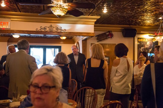 Pennsylvania state Sen. Daylin Leach talks to his supporters Thursday evening. (Emily Cohen for WHYY)