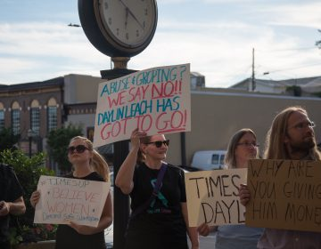 About 30 protesters gather outside of a Daylin Leach fundraising event in an attempt to bring attention to accusations of sexual misconduct raised against the PA State Senator on June 21st 2018. (Emily Cohen for WHYY)