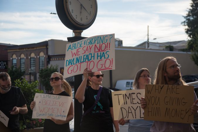 Thursday evening, about 30 protesters gather outside of a Daylin Leach fundraising event in an attempt to bring attention to accusations of sexual harassment raised last year against the Pennsylvania state senator. (Emily Cohen for WHYY)