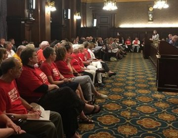 With members of the gun control group Moms Demand Action looking on, the House Judiciary Committee debated a number of gun bills. (Photo by Katie Meyer/WITF)