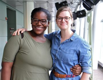 Ayanna McNair (left) and Bridget Biddle stop by WHYY to tell their story. McNair is a formerly incarcerated single mother who recently got a licence to start a food truck business. Biddle is an advocate with the Maternity Care Coalition, which helped McNair. (Emma Lee/WHYY)