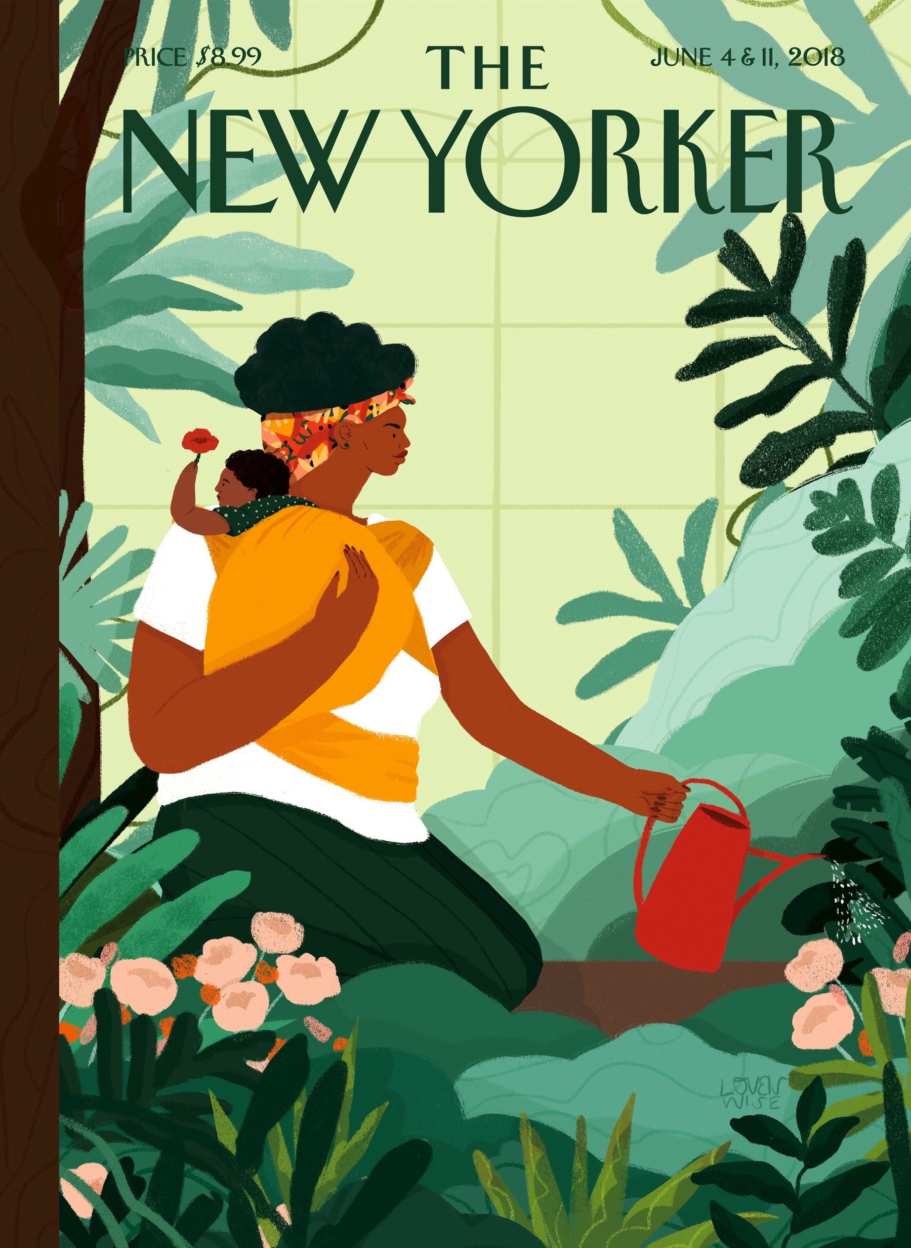 "Loveis Wise's illustration, ""Nurture,"" appears on the cover of The New Yorker's summer fiction issue."