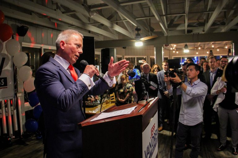 New Jersey state Sen. Jeff Van Drew addresses the crowd at the Lobster Loft in Sea Isle City after winning the Democratic nomination to run for the congressional seat vacated by Republican Frank LoBiondo. (Emma Lee/WHYY)