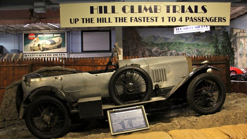 A 1921 Vauxhaul from England excelled in hill-climb races, some of which required four passengers to test the competitive strength of the vehicle. (Emma Lee/WHYY)