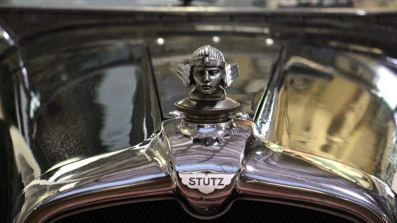 A hood ornament gleams on a 1928 Stutz BB Blackhawk Speedster, America's fastest car in 1928. (Emma Lee/WHYY)