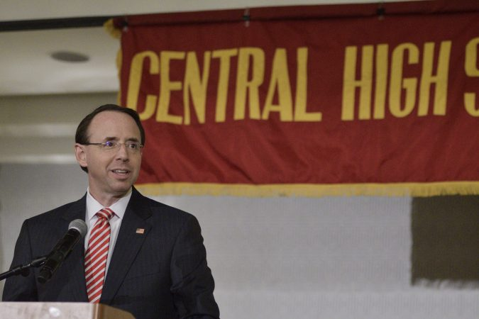 Deputy Attorney General Rod Rosenstein delivers the keynote speech during the annual alumni dinner of Central High School in Philadelphia on Tuesday evening. (Bastiaan Slabbers for WHYY)