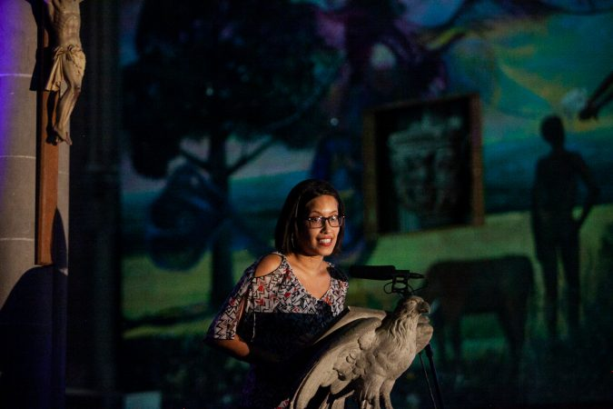 Elina Ortiz, a local playwright, hosted Finding Sanctuary at Church of the Advocate in North Philadelphia. (Brad Larrison for WHYY)
