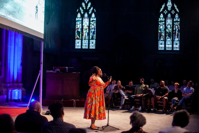 Jos Duncan, a multimedia producer, shares her story at Finding Sanctuary at Church of the Advocate in North Philadelphia. (Brad Larrison for WHYY)