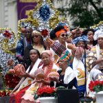 A float travels through Center City during the annual Juneteenth parade. (Bastiaan Slabbers for WHYY)