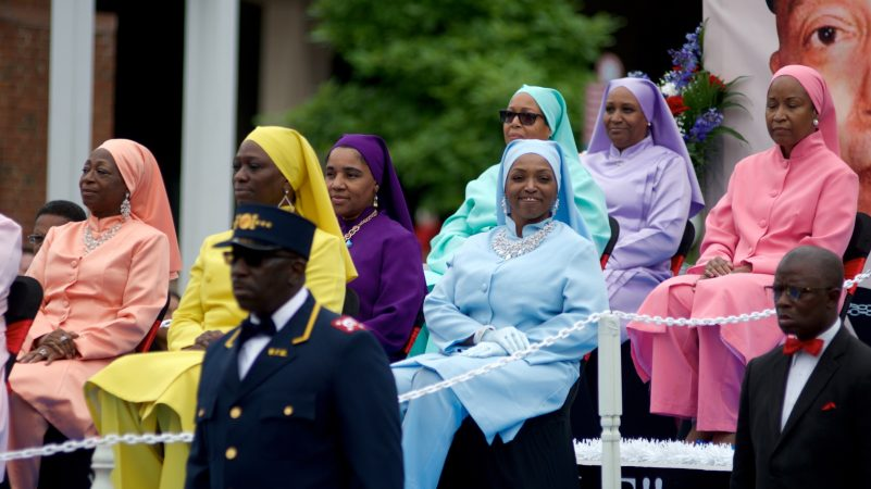 A float of the Nation of Islam rolls past the viewing area on Independence Mall, during the annual Juneteenth Parade, on Saturday. (Bastiaan Slabbers for WHYY)