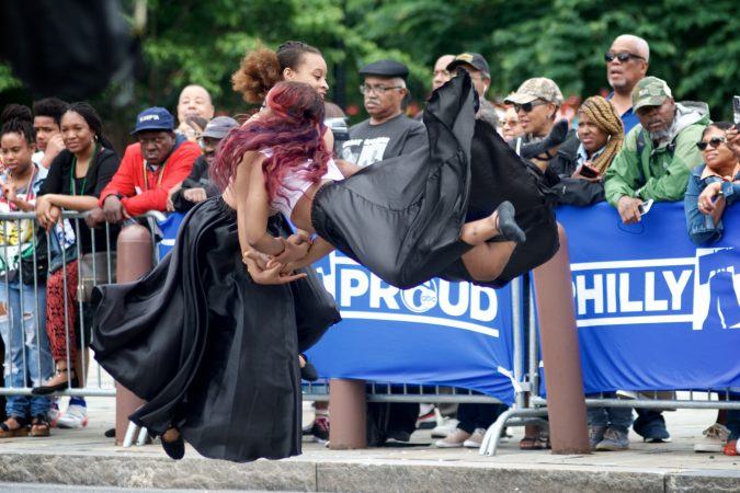 Dancers perform for a small crowd gathered at Independence Mall, during the Juneteenth Parade, on Saturday. (Bastiaan Slabbers for WHYY)