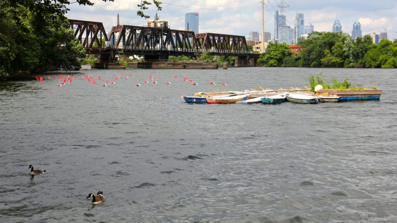 Two art installations on the Schuylkill River,