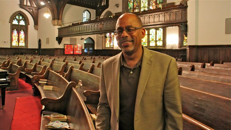 The Rev. David Brown says he sees Infill Philadelphia providing an opportunity for the rebirth the church where he is an ordained deacon. (Emma Lee/WHYY)
