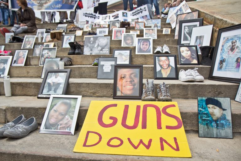 A rally against violence took place June 11, 2018 on the steps of the Philadelphia Museum of Art. (Kimberly Paynter/WHYY)