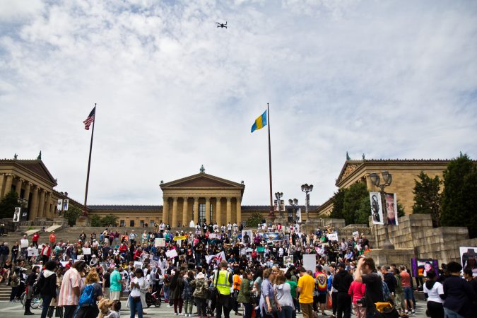 Hundreds of young people protest gun violence on the steps of the Philadelphia Museum of Art. A drone overhead was sent to capture a photograph of the crowd. (Kimberly Paynter/WHYY)