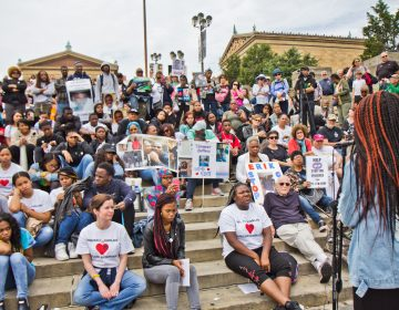 "Karmeea Chisolm tells the crowd, ""Don't be fooled by the term 'mass shooting.' Every life matters,"" at the demonstration against gun violence Monday. (Kimberly Paynter/WHYY)"