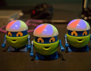 With its artificial intelligence, My Loopy has seven toy-grade sensors that respond to touch, light, sound, proximity, temperature, and motions to learn from its user and their environment. (Kim Paynter/WHYY)