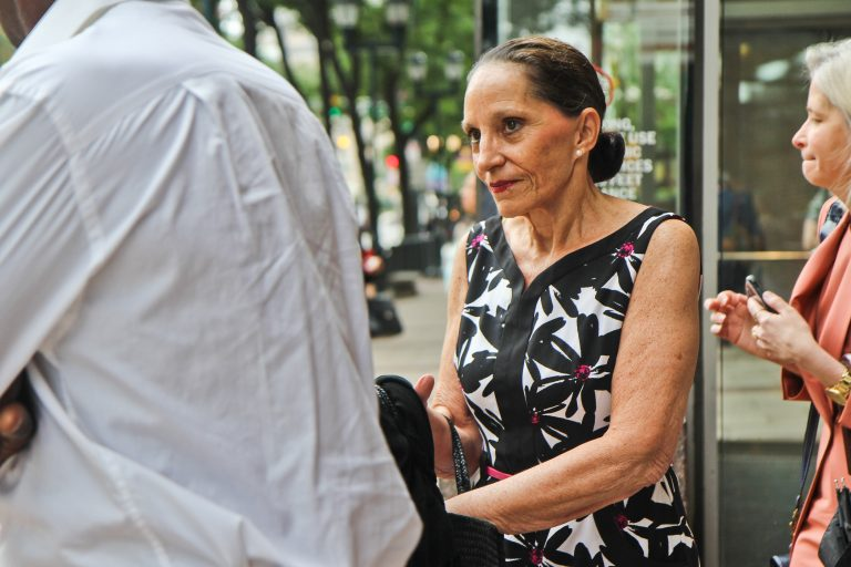 Renee Tartaglione exits the federal courthouse in Philadelphia Wednesday. (Kimberly Paynter/WHYY)