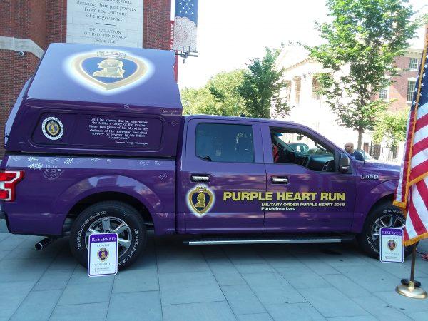 The 2018 Purple Heart Truck Run stops in Philadelphia, June 20, 2018. (Maya Aphornsuvan for WHYY)