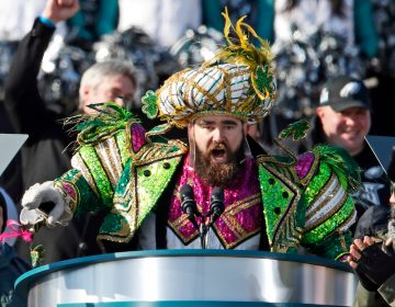 In this Feb. 8, 2018, file photo, Philadelphia Eagles center Jason Kelce speaks at the conclusion of the NFL team's Super Bowl victory parade in front of the Philadelphia Museum of Art in Philadelphia. (Alex Brandon/AP Photo, File)
