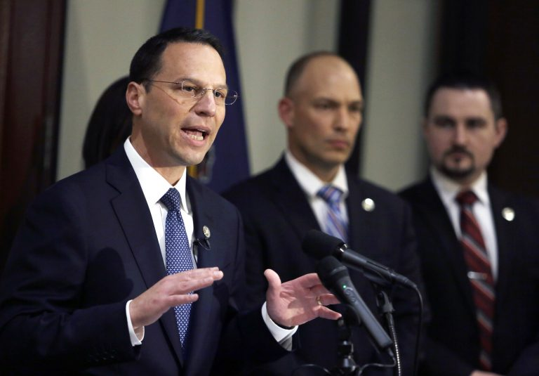 Pennsylvania Attorney General Josh Shapiro addresses a reporter's question a news conference Thursday May 10, 2018 in Philadelphia. Shapiro announced that Christann Shyvin Gainey, 30, a nurse, was charged Thursday, in the death of the father of H.R. McMaster, President Donald Trump's former national security adviser, after authorities said she failed to give him a series of neurological exams following his fall at a Philadelphia senior care facility. Gainey was charged with involuntary manslaughter, neglect and records tampering in the death of H.R. McMaster Sr. (AP Photo/Jacqueline Larma)