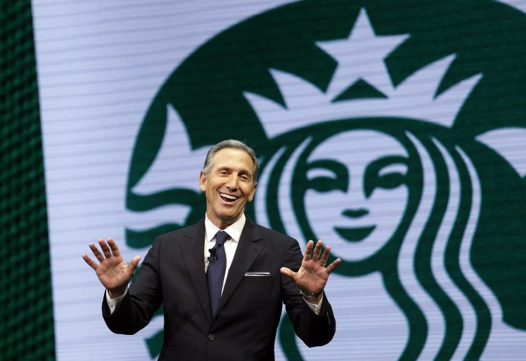 In this March 22, 2017 file photo, Starbucks CEO Howard Schultz speaks at the Starbucks annual shareholders meeting