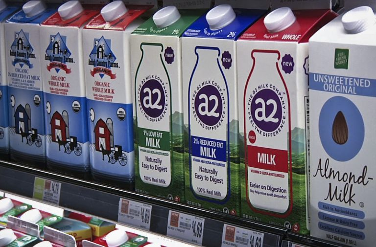 In this Friday, May 18, 2018 photo, A2 milk is displayed on the shelf at The Fresh Market in Latham, N.Y. So-called A2 milk is showing up on more supermarket shelves. (Michael Hill/AP Photo)