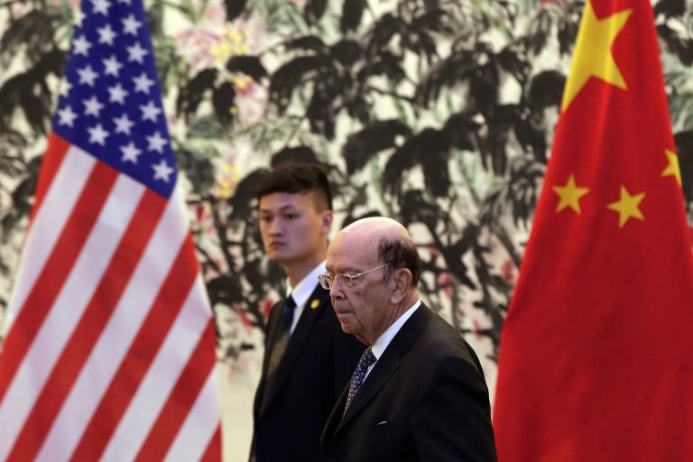 U.S. Commerce Secretary Wilbur Ross arrives to the Diaoyutai State Guesthouse to attend a meeting with Chinese Vice Premier Liu He in Beijing, Sunday, June 3, 2018. U.S.  (AP Photo/Andy Wong, Pool)