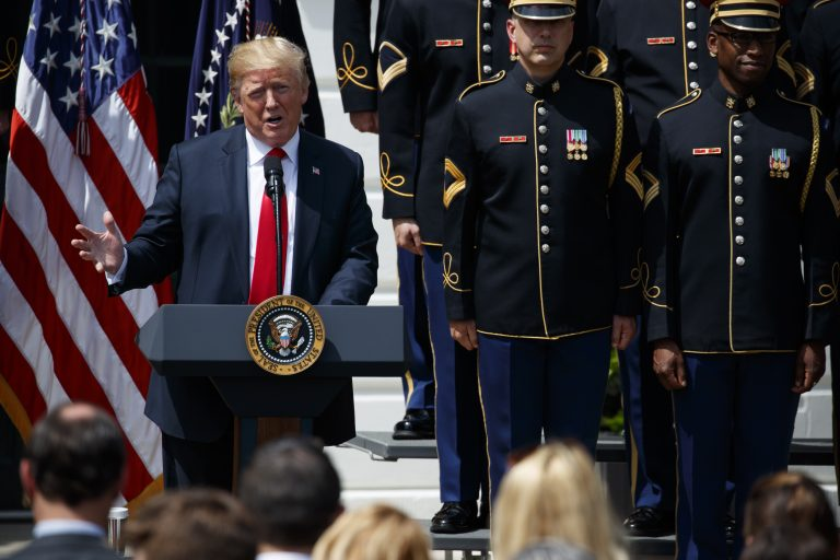 President Donald Trump speaks during a