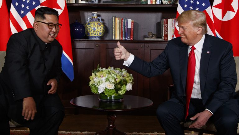 President Donald Trump meets with North Korean leader Kim Jong Un on Sentosa Island, Tuesday, June 12, 2018, in Singapore. (Evan Vucci/AP Photo)