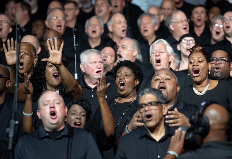 Choir members sing worship songs during the Southern Baptist Convention's annual meeting on Tuesday, June 12, 2018, at the Kay Bailey Hutchison Convention Center in Dallas. (Jeffrey McWhorter/AP Photo)