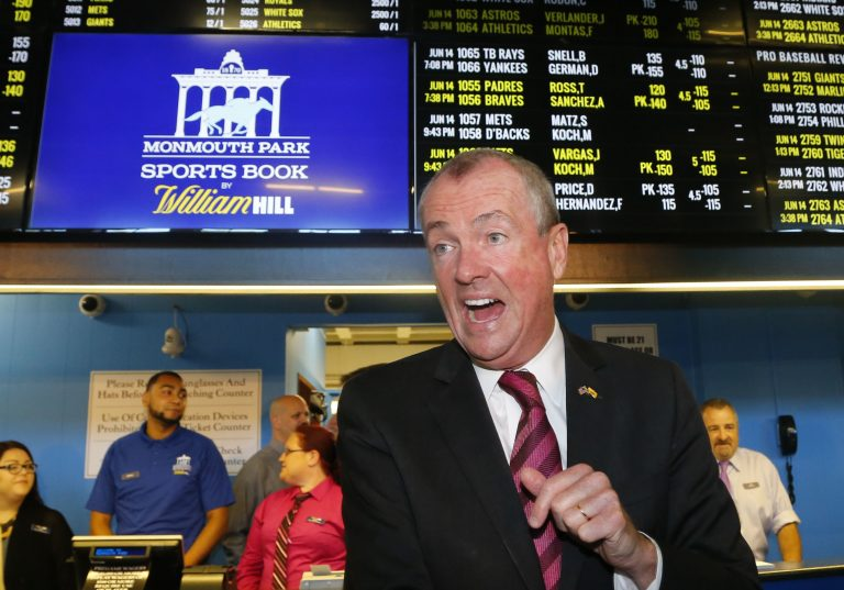 New Jersey Governor Phil Murphy, arrives to make the first wager with Monmouth Park Sports Book at Monmouth Park Racetrack. Thursday, June 14, 2018 in Oceanport, NJ. (Noah K. Murray/AP Photo)