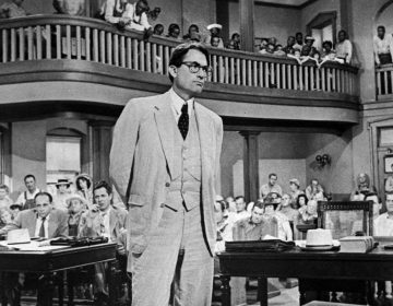Gregory Peck is shown as attorney Atticus Finch, a small-town Southern lawyer who defends a black man accused of rape, in a scene from the 1962 movie