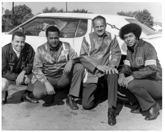 The founders of the Black American Racing Association (from left) Leonard Miller, Malcolm Durham, Wendell Scott and Ronald Hines. (Courtesy Leonard Miller)