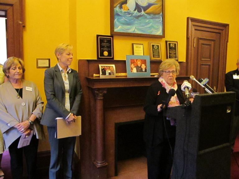 N.J. Sen. Loretta Weinberg discusses her legislation to help deter abusive workplace behavior. The Senate has passed the measure that now awaits consideration in the Assembly. (Phil Gregory/WHYY)