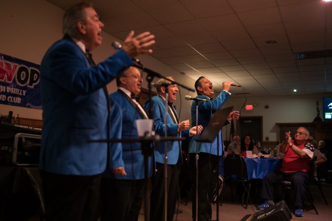 Blue Velvet performs at the Father's Day spaghetti dinner at the South Philly String Band Club. (Branden Eastwood for WHYY)